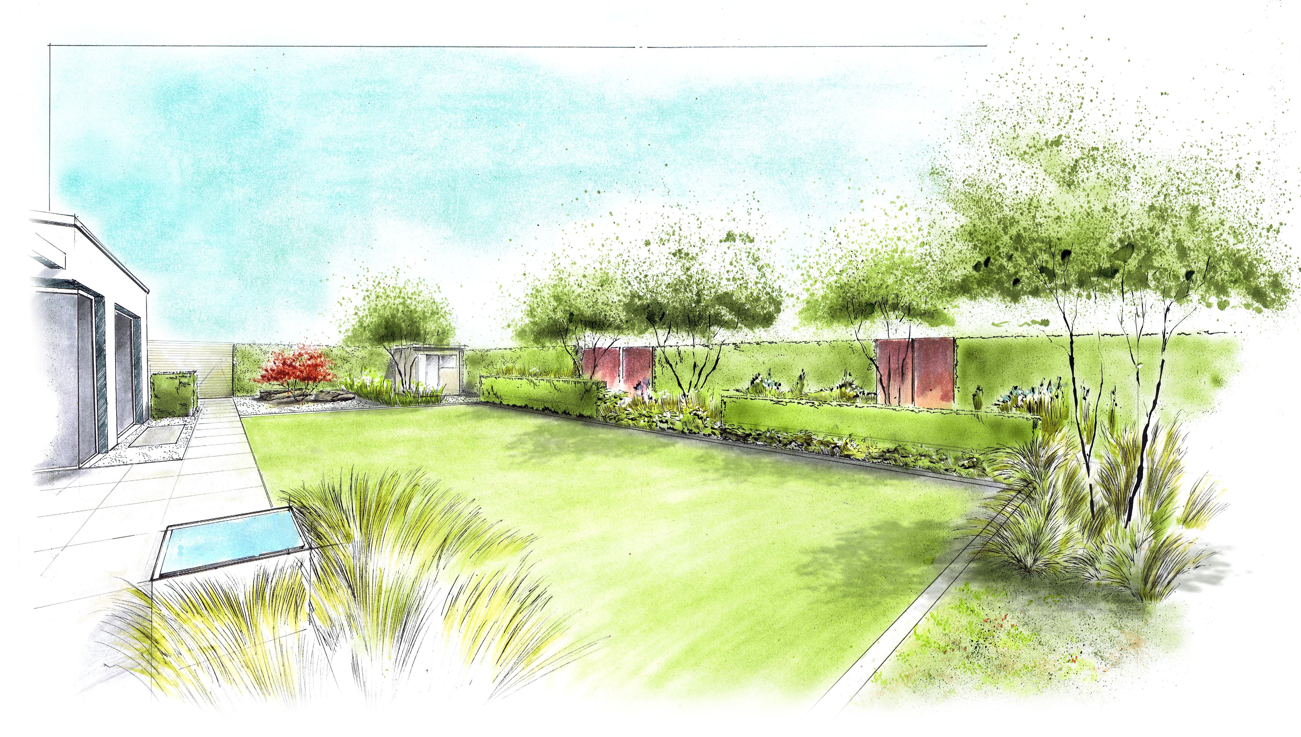 Perspektiven zeichnen nullkommaneun for Gartengestaltung zeichnung