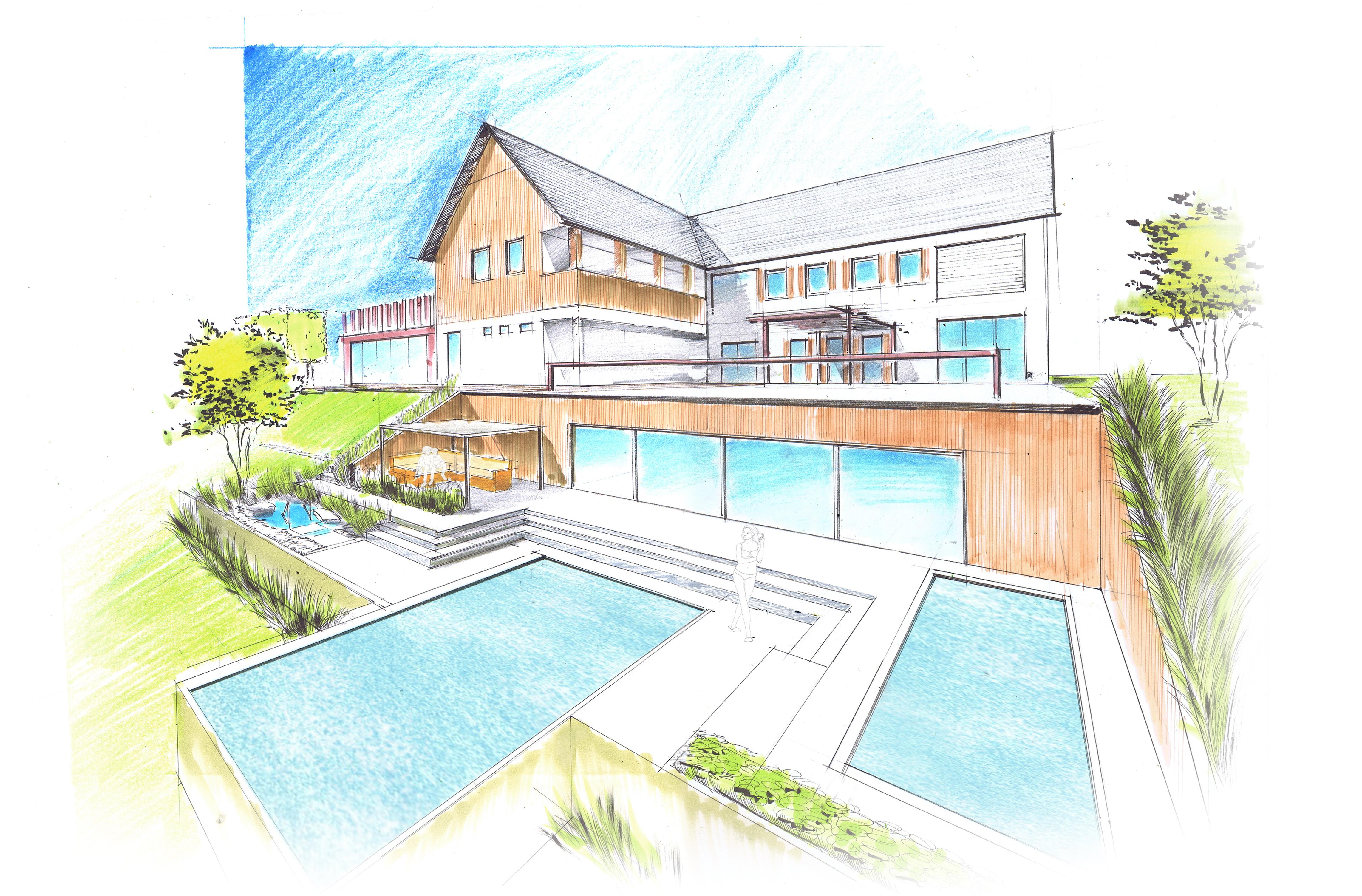 gartenplan mit pool, perspektiven zeichnen – nullkommaneun, Design ideen