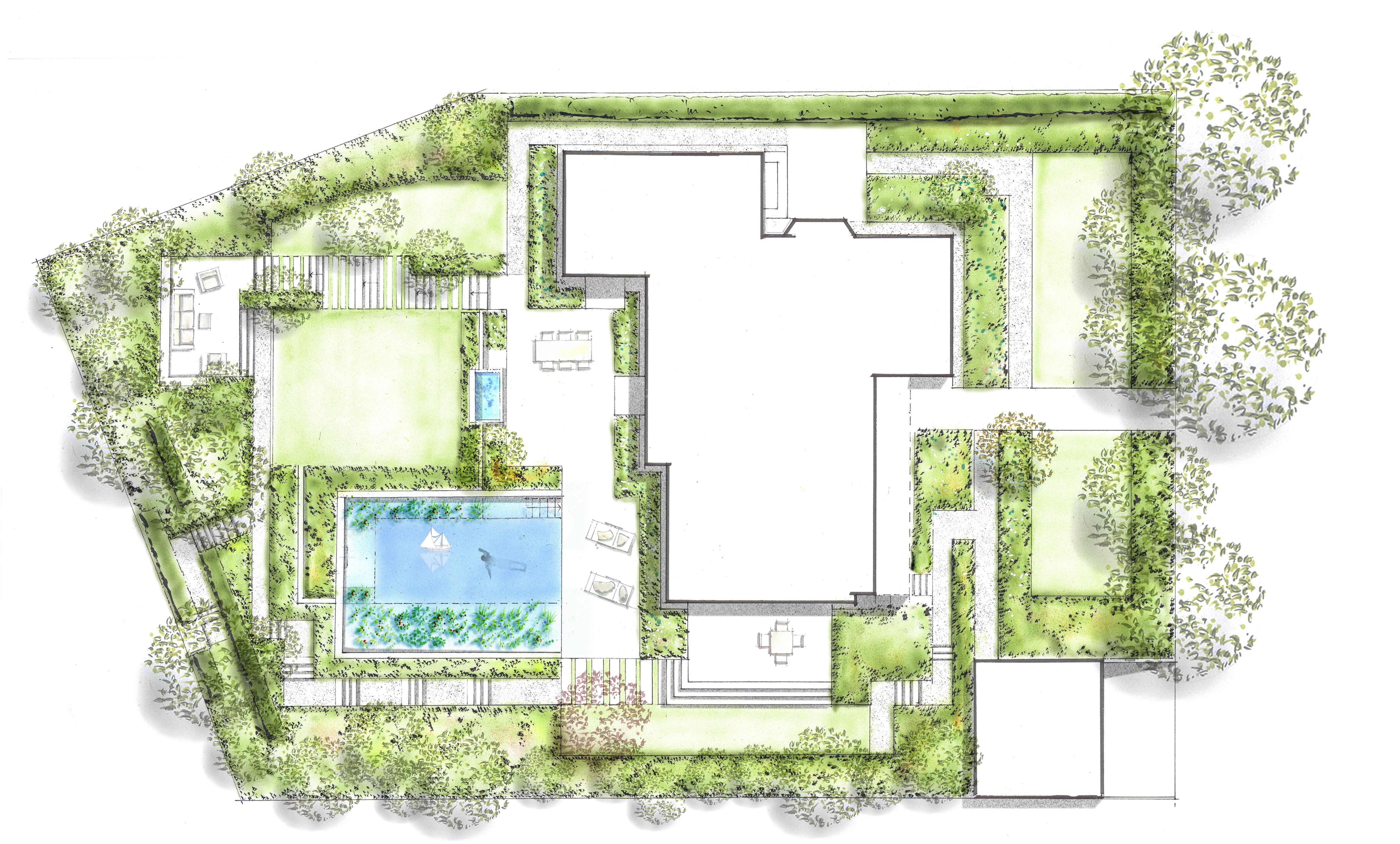 gartenplan mit pool, gartenpläne zeichnen – nullkommaneun, Design ideen
